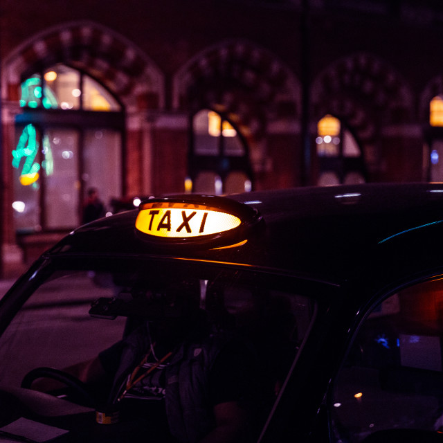 """London taxi car at night"" stock image"