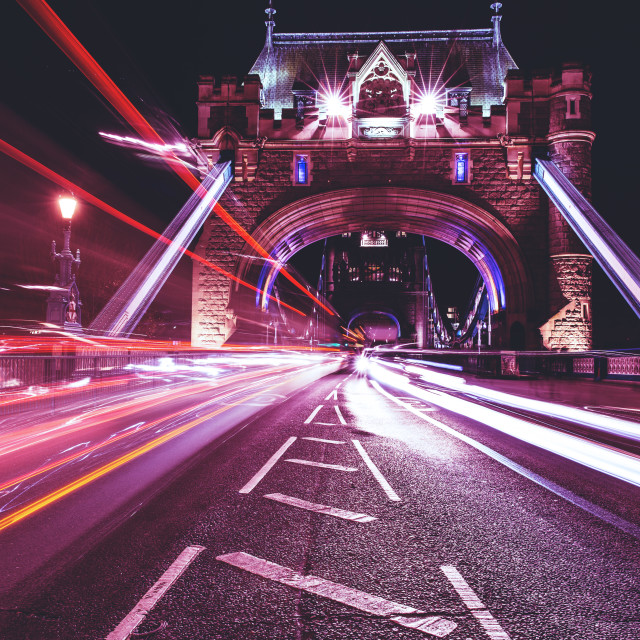 """""""Tower Bridge light trails at night in London"""" stock image"""