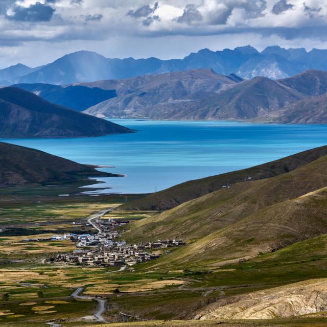 """Tibet,Yamdrok Lake"" stock image"