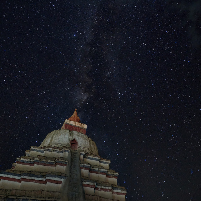 """Under the stars, the stupa of the Tibetan plateau."" stock image"