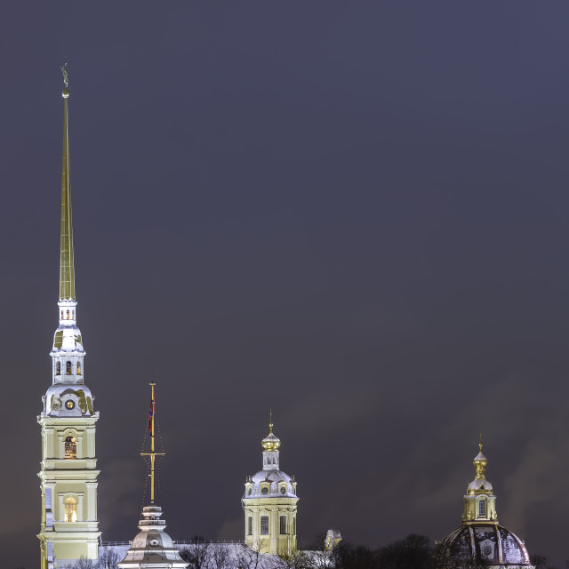 """""""Night view of the Peter and Paul Fortress"""" stock image"""