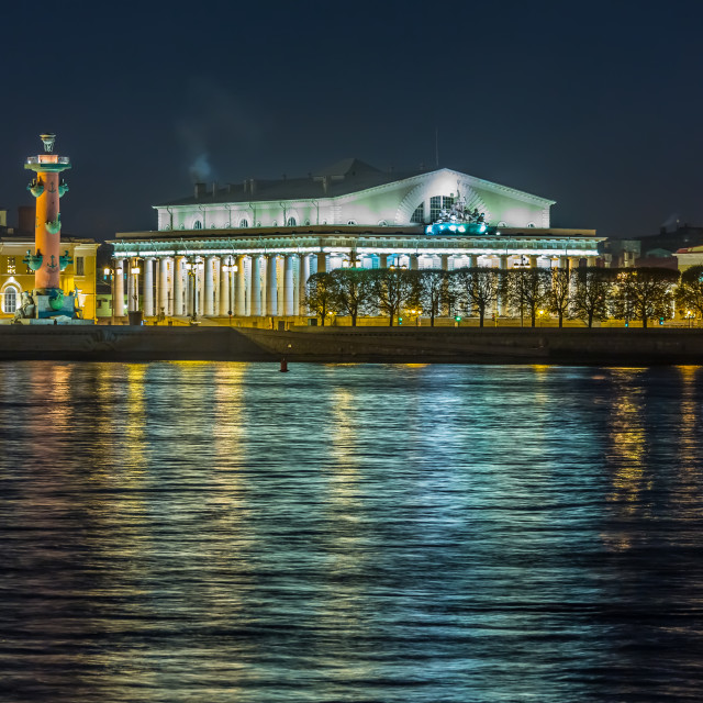 """Spit of Vasilyevsky Island night view"" stock image"