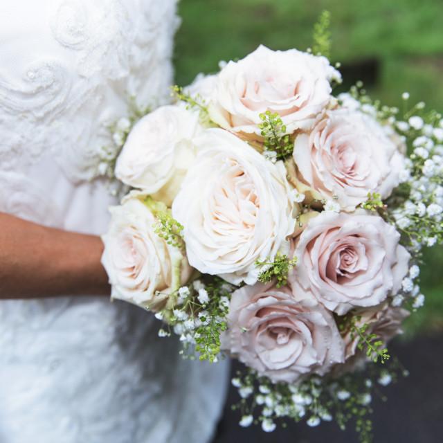 """""""Wedding bride holding flowers"""" stock image"""