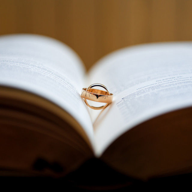 """Couple of golden wedding rings"" stock image"