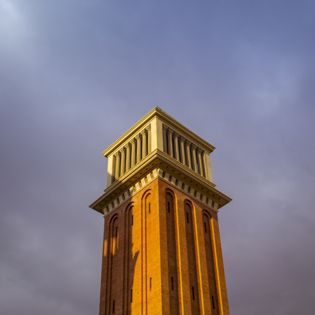 """Venecian tower in the entrance of Montjuic in Barcelona"" stock image"