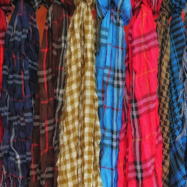 """SCARVES IN A MARKET STALL"" stock image"