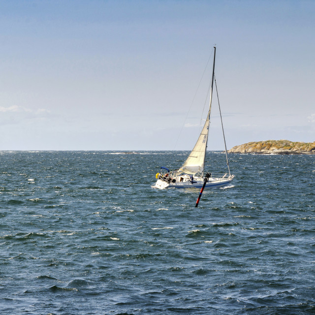 """lonely sailboat"" stock image"