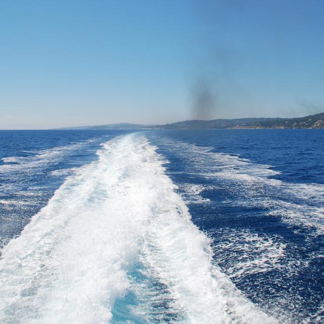 """""""Hydrofoil wake, Paxos"""" stock image"""