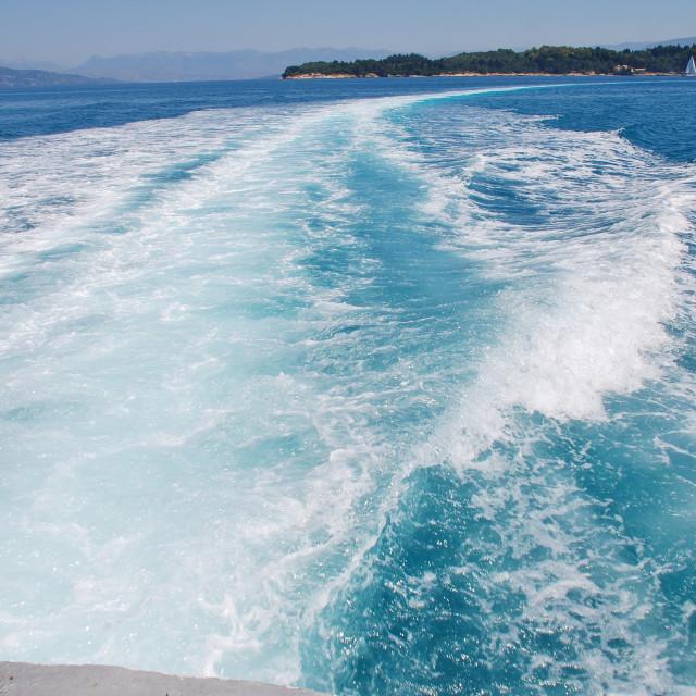"""Hydrofoil wake, Corfu"" stock image"