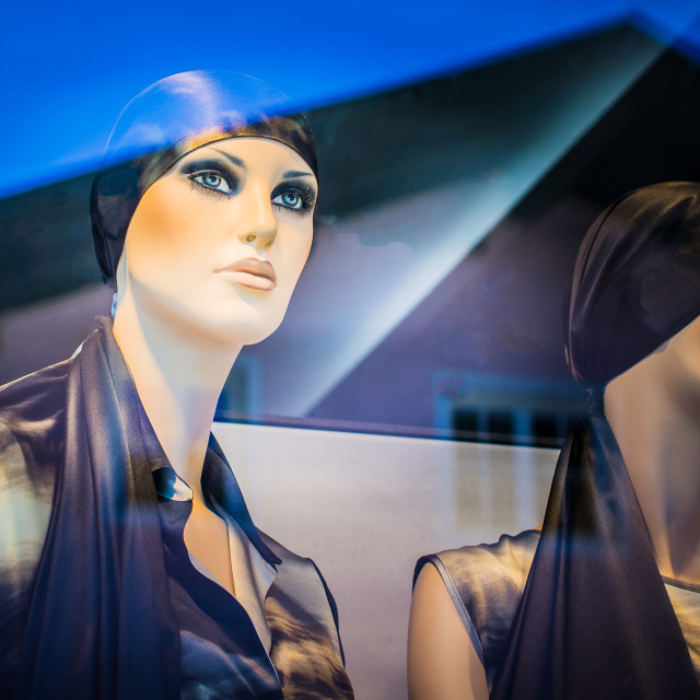 """""""Mannequin behind glass"""" stock image"""