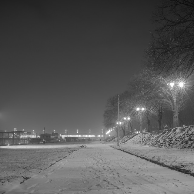 """Pedestrian way along the river Sava, b&w"" stock image"