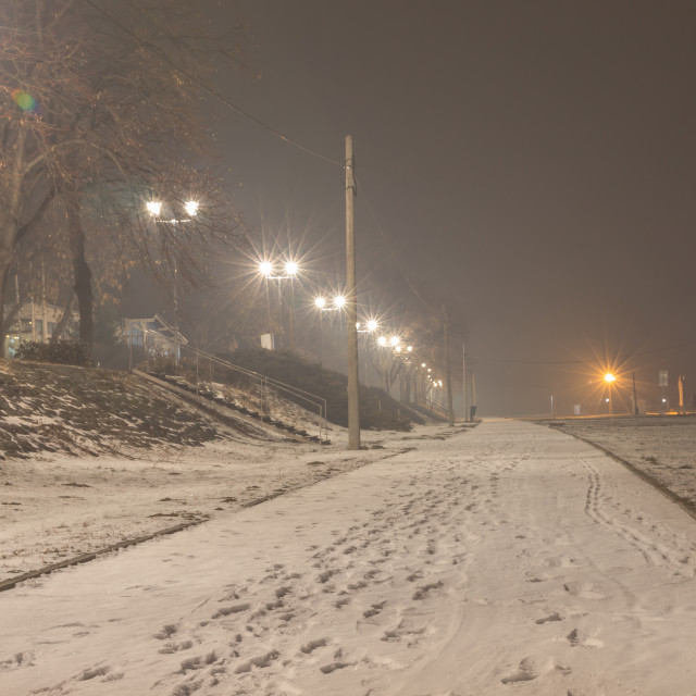 """Foggy frozen night, pedestrian way"" stock image"