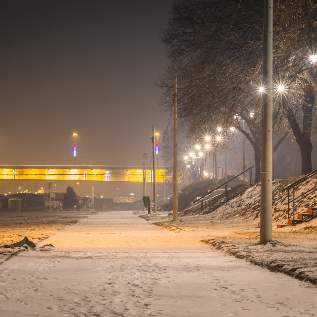 """Pedestrian way along the river Sava, Belgrade Serbia"" stock image"