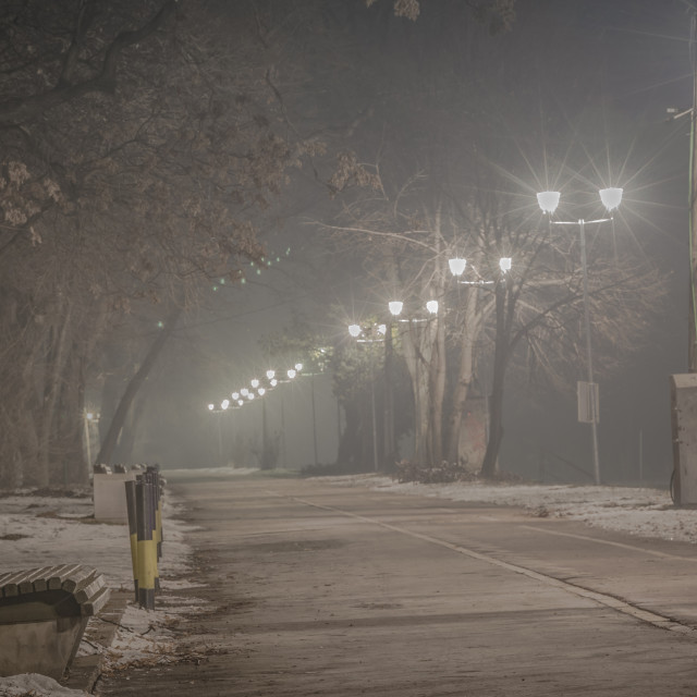 """Pedestrian way on the foggy night"" stock image"