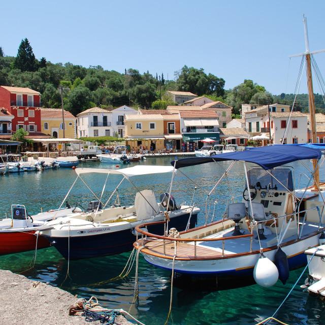 """Loggos harbour, Paxos"" stock image"