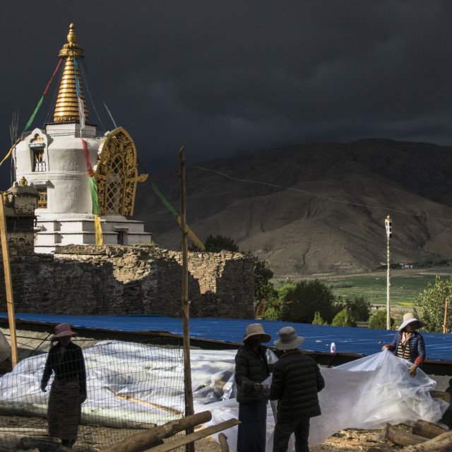 """Under construction Buddhist Temple, Tibet"" stock image"