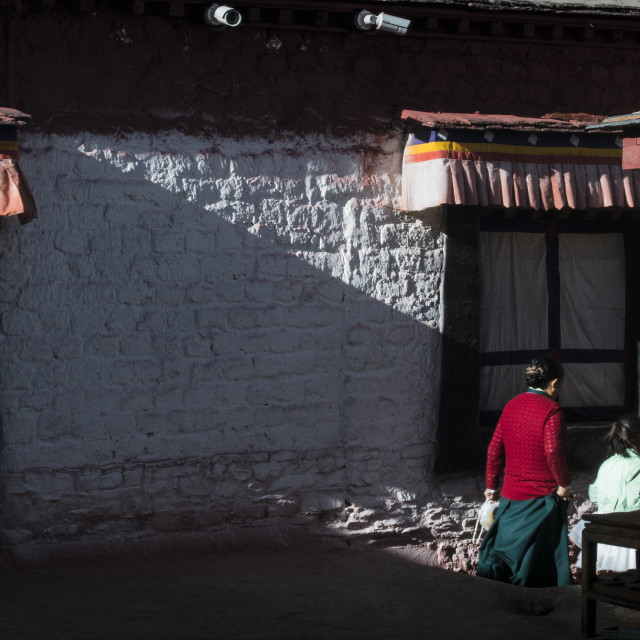 """Tibet, Tibetans in Buddhist temples"" stock image"