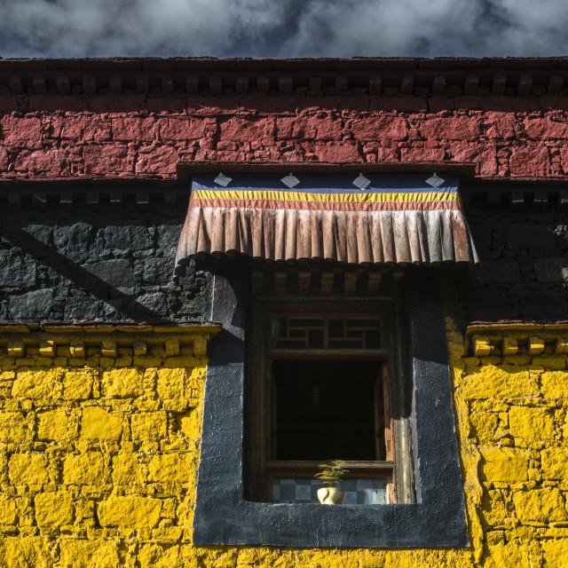 """Tibetan, windows of Buddhist Temple"" stock image"