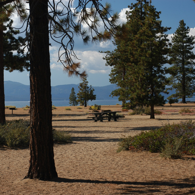 """""""PICNIC TABLE WITH LAKE VIEW"""" stock image"""