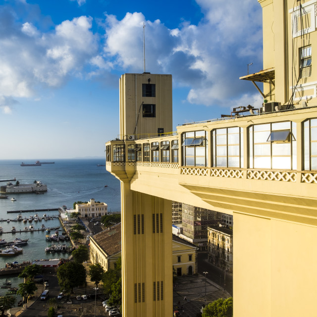 """Elevador Lacerda elevator is one of the most famous landmarks in"" stock image"