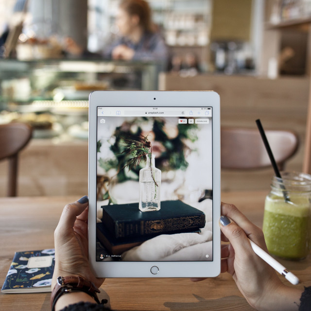 """iPad pro in the cafe 2"" stock image"