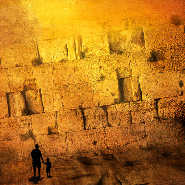 """""""Father and Son holding hands in front of the western wall, Jerusalem"""" stock image"""
