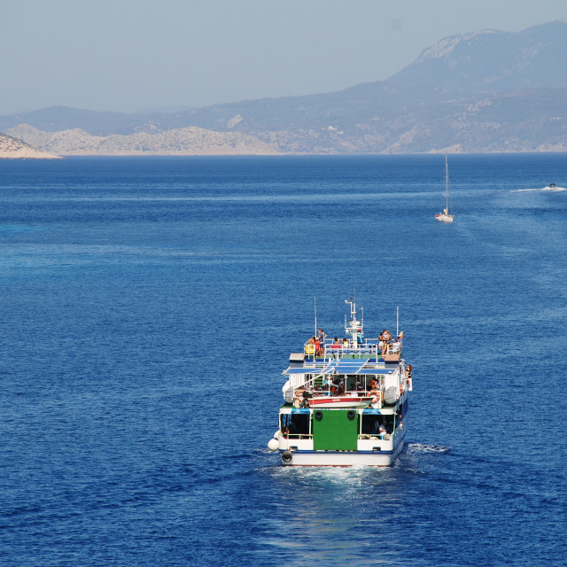 """Emborio harbour, Halki island"" stock image"