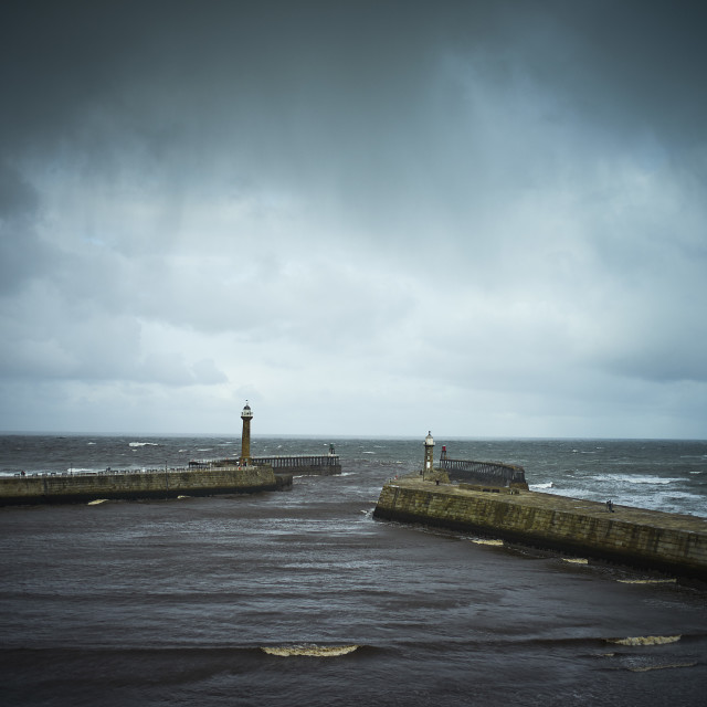 """""""Whitby outer harbour"""" stock image"""