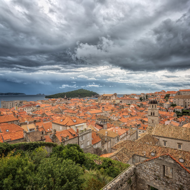"""""""Storm over Dubrovnik Old Town"""" stock image"""