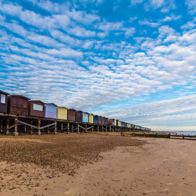 """""""Frinton Stilted Beach Huts"""" stock image"""