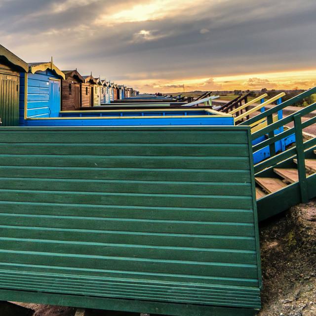 """Frinton Beach Hut line Up"" stock image"