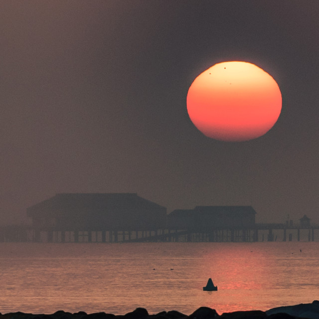 """""""Misty Sunset Over Clacton Pier"""" stock image"""