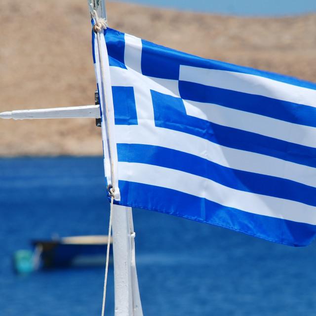 """Greek National flag, Halki"" stock image"