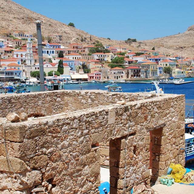 """""""Emborio village, Halki"""" stock image"""