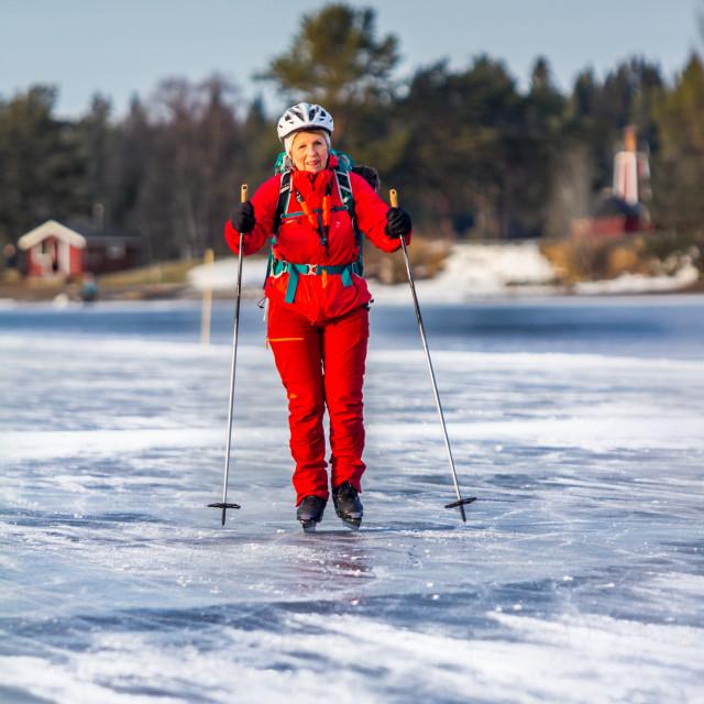 """""""Ice skating in Sweden"""" stock image"""