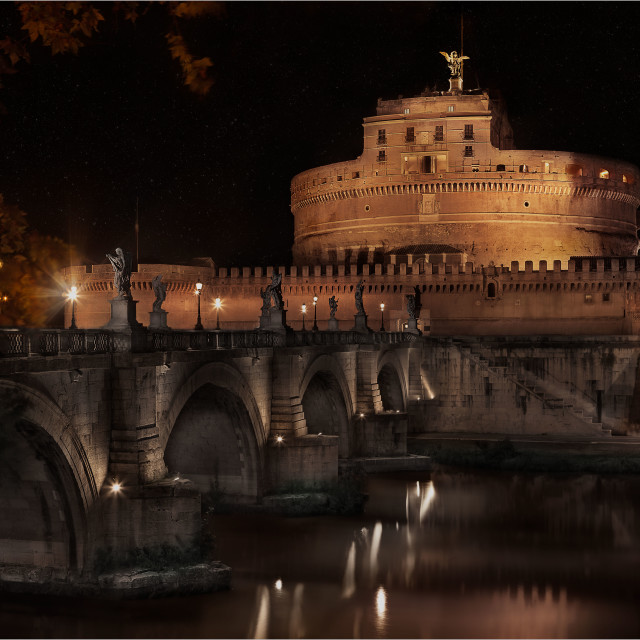 """Castel Sant Angelo at night"" stock image"