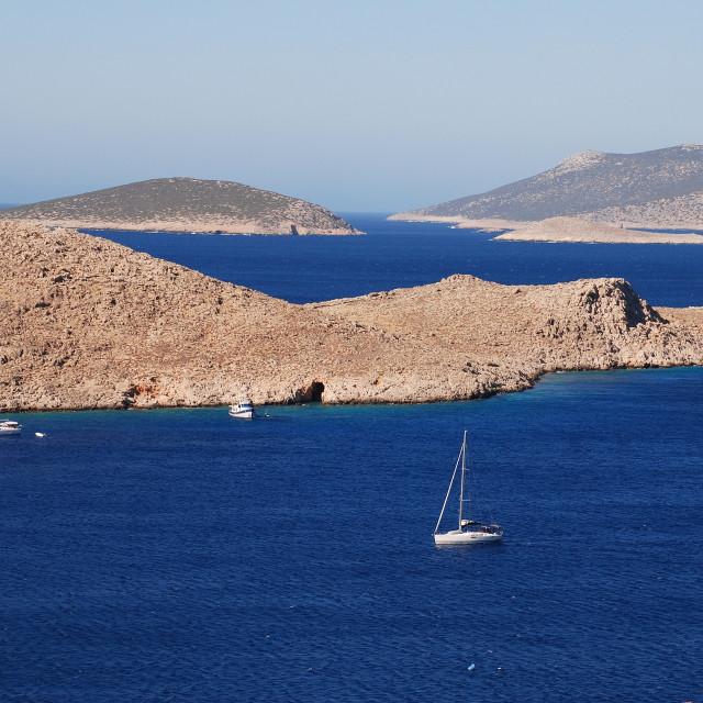 """Emborio harbour, Halki"" stock image"