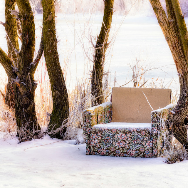 """Old armchair on the snow"" stock image"