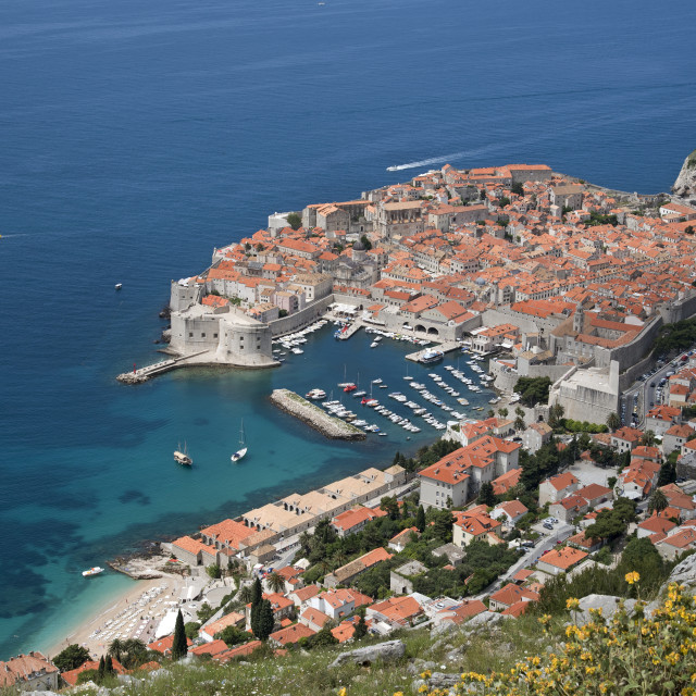 """""""OLD TOWN DUBROVNIK CROATIA - MAY 2016 - An overview from Mount Syd of the..."""" stock image"""