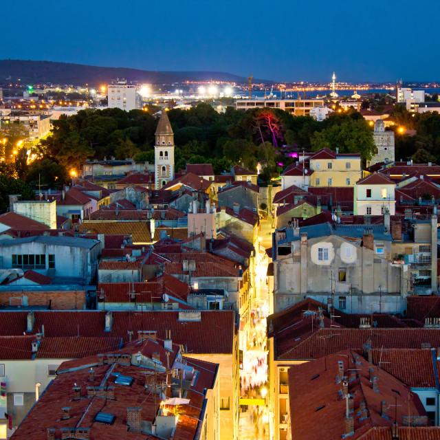 """Zadar peninsula calle larga panorama in evening"" stock image"