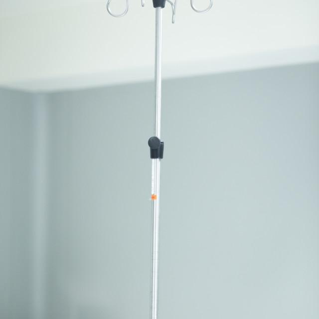 """Hospital ward iv drip stand"" stock image"