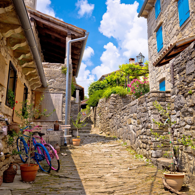 """Town of Hum colorful old stone street"" stock image"