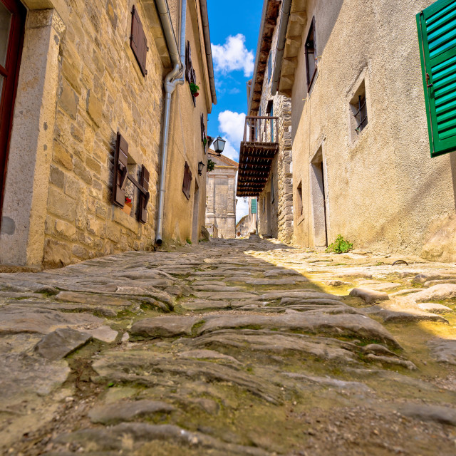 """Town of Hum old cobbled street view"" stock image"