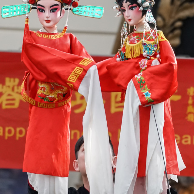 """London: Chinese New Year of the Rooster spectacle Guangzhou Art Troupe at..."" stock image"