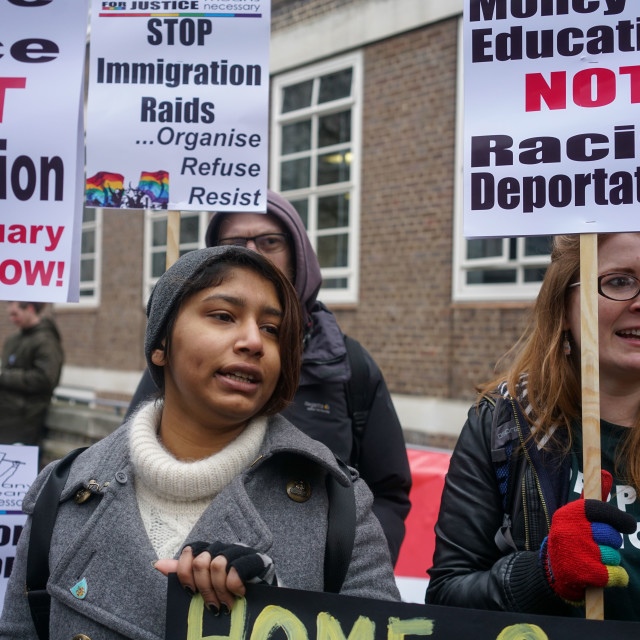 """March to Defend international students from deportation,UK"" stock image"