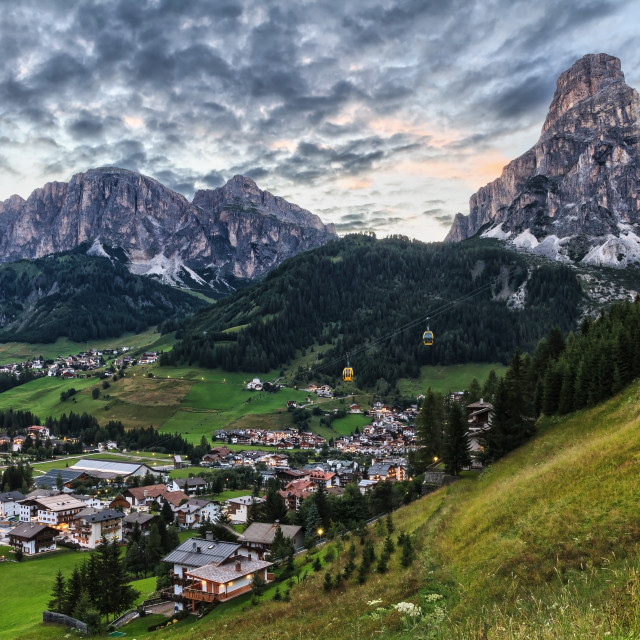 """Corvara village and Badia Valley"" stock image"