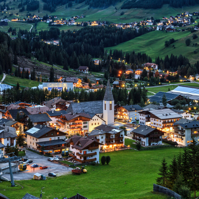 """Corvara village and Badia Valley in summer Alto Adige, Italy"" stock image"