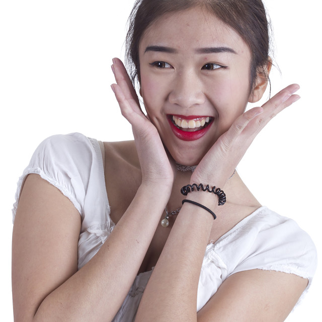 """Asian girl closeup portrait"" stock image"