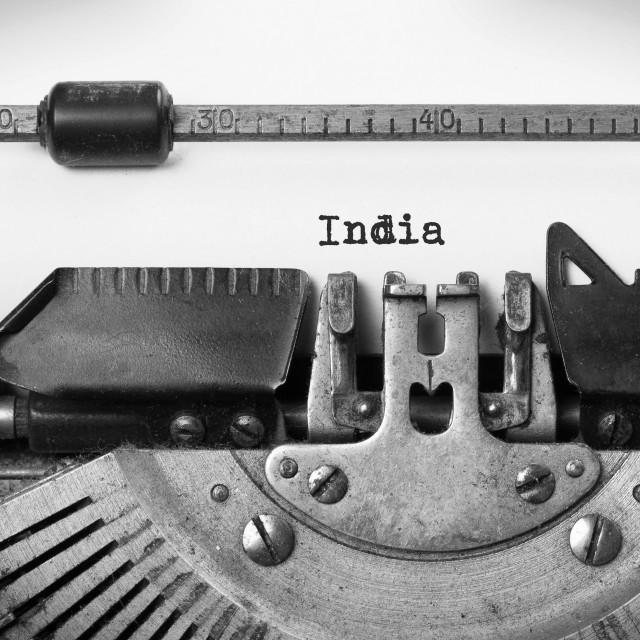 """""""Old typewriter - India"""" stock image"""