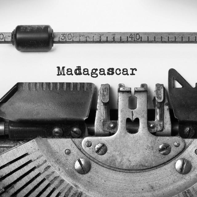 """""""Old typewriter - Madagascar"""" stock image"""